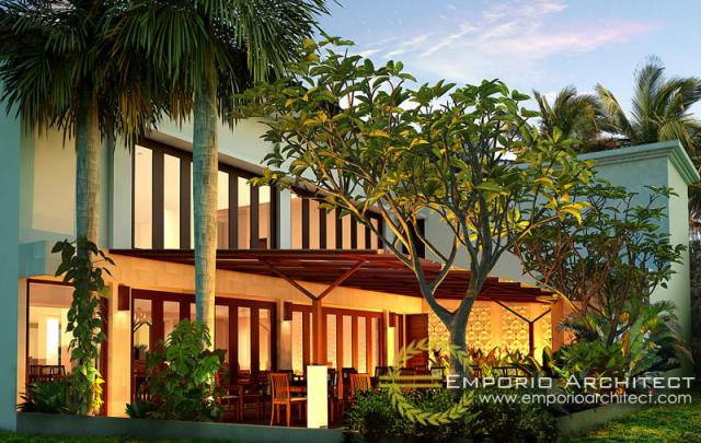 Desain Tampak Belakang Restoran Villa Bali 2 Lantai Bapak Anton di Surabaya