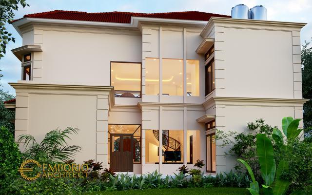 Desain Tampak Belakang Rumah Mediteran 2 Lantai Ibu Yeni di Bandung, Jawa Barat