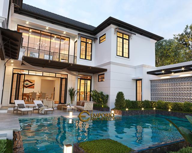 Desain Tampak Kolam Lookup 2 Rumah American Style 2 Lantai Ibu Patricia di Bogor, Jawa Barat