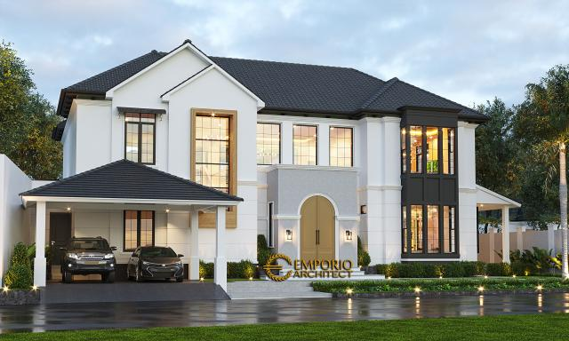 Desain Rumah American Style 2 Lantai Ibu Patricia di Bogor, Jawa Barat - Tampak Depan Tanpa  Pagar