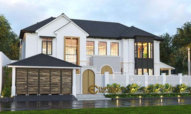 Desain Tampak Depan Dengan Pagar Rumah American Style 2 Lantai Ibu Patricia di Bogor, Jawa Barat