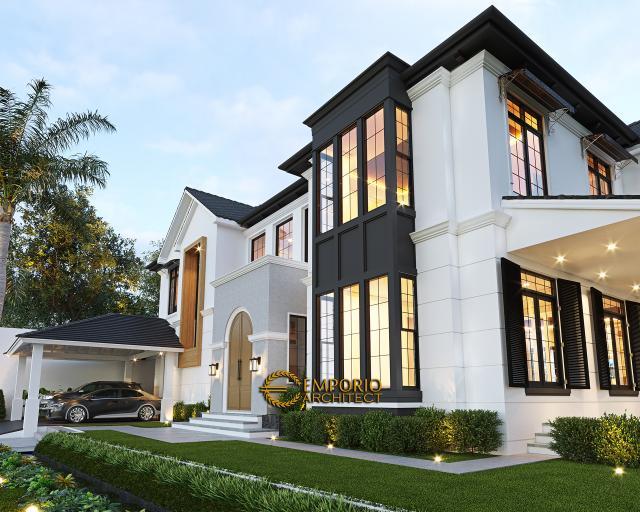 Desain Tampak Depan Lookup Rumah American Style 2 Lantai Ibu Patricia di Bogor, Jawa Barat