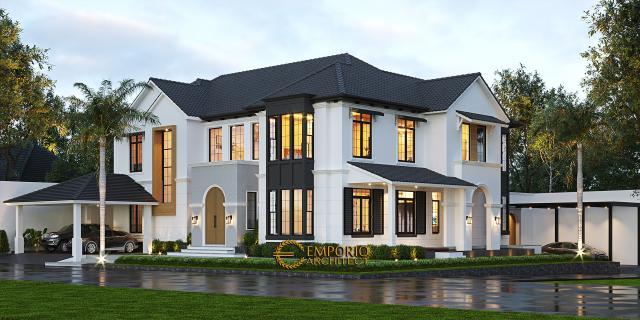 Desain Tampak Hook Rumah American Style 2 Lantai Ibu Patricia di Bogor, Jawa Barat