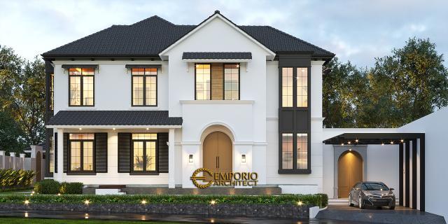 Desain Tampak Samping Rumah American Style 2 Lantai Ibu Patricia di Bogor, Jawa Barat