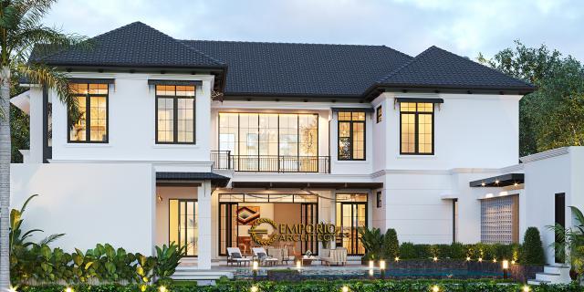 Desain Tampak Belakang Rumah American Style 2 Lantai Ibu Patricia di Bogor, Jawa Barat