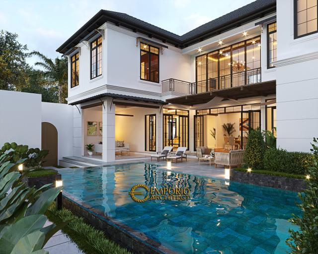Desain Tampak Kolam Lookup 1 Rumah American Style 2 Lantai Ibu Patricia di Bogor, Jawa Barat