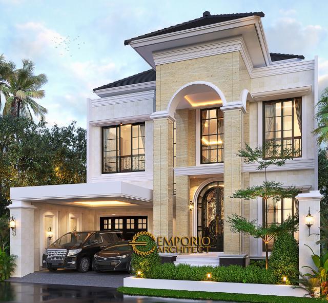 Desain Tampak Depan Tanpa Pagar 2 Rumah Mediteran 2 Lantai Bapak Royke Poluakan di BSD, Tangerang Selatan, Banten