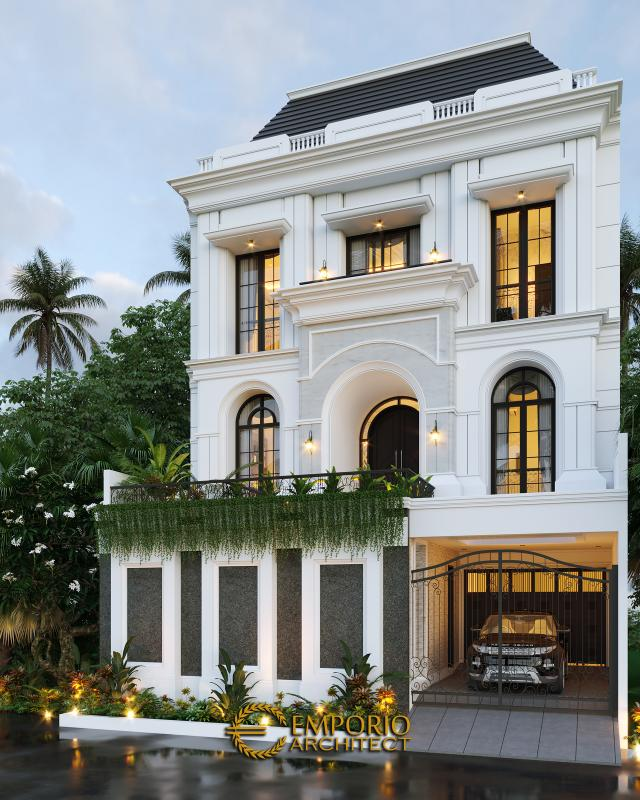 Desain Rumah Mediteran 3 Lantai Ibu Febriana di Jakarta di Jakarta - Tampak Depan