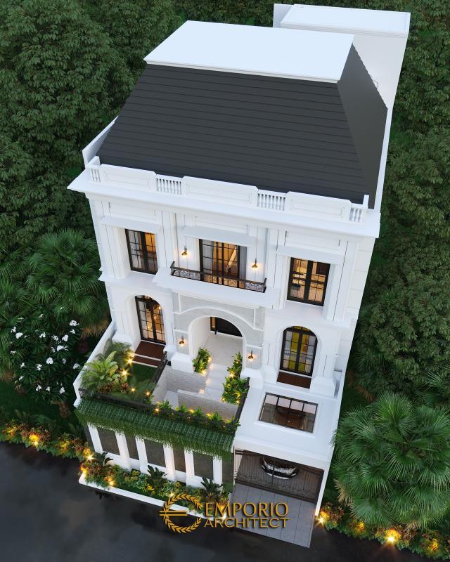Desain Master Plan Tampak Depan Rumah Mediteran 3 Lantai Ibu Febriana di Jakarta di Jakarta