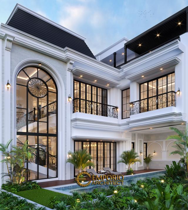 Desain Tampak Belakang Rumah Mediteran 3 Lantai Ibu Debbie di Jakarta Utara