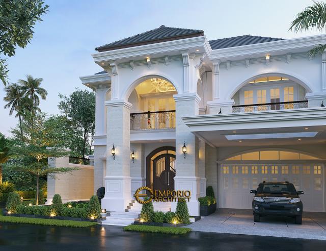 Desain Tampak Depan Rumah Mediteran 3 Lantai Bapak Zudi di Solo (Surakarta), Jawa Tengah