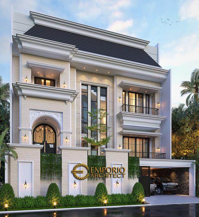 Desain Rumah Mediteran 3.5 Lantai Bapak Fudy di Jakarta Barat - Tampak Depan