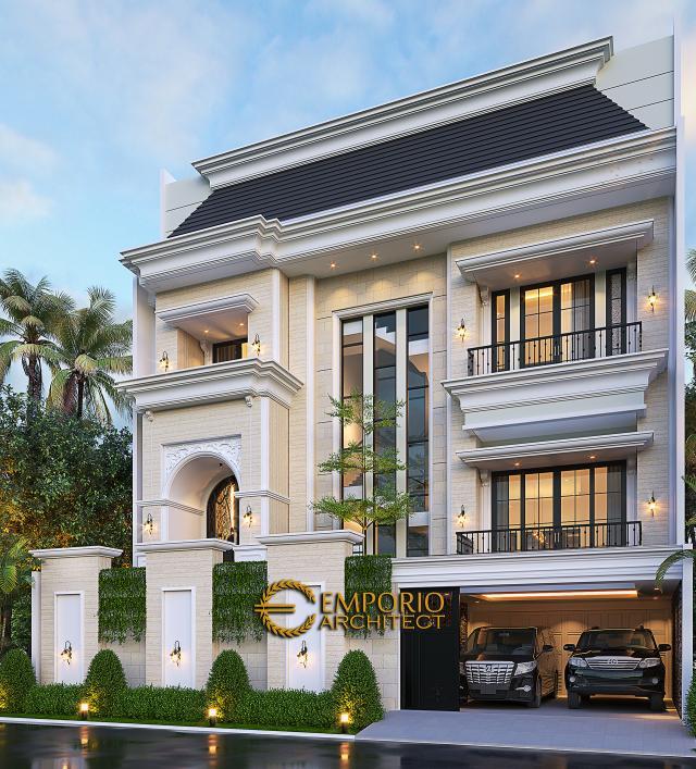 Desain Tampak Depan 2 Rumah Mediteran 3.5 Lantai Bapak Fudy di Jakarta Barat