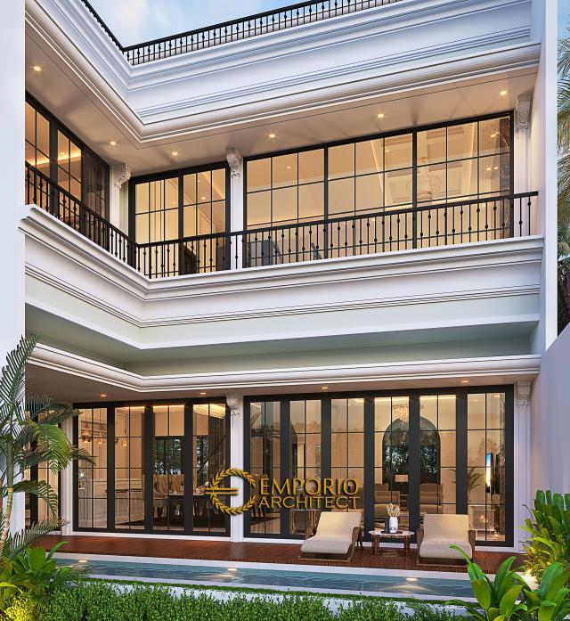 Desain Tampak Belakang Rumah Mediteran 3.5 Lantai Bapak Fudy di Jakarta Barat