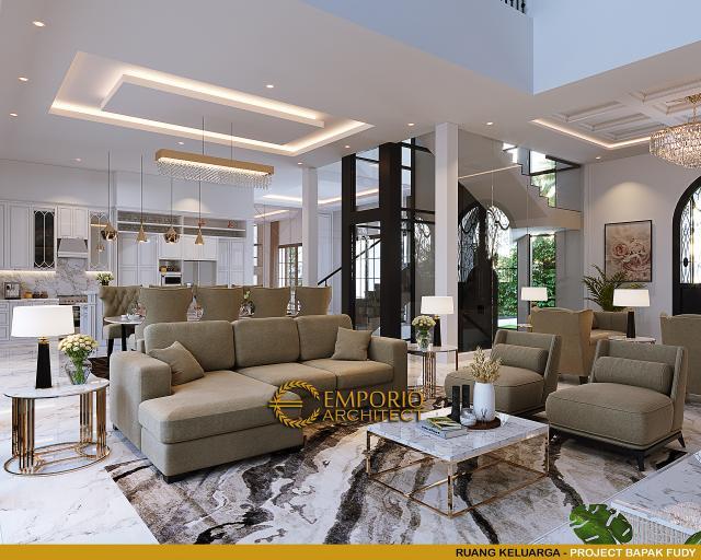 Desain Ruang Keluarga Rumah Mediteran 3.5 Lantai Bapak Fudy di Jakarta Barat