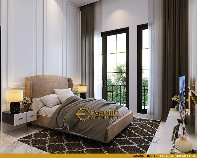 Desain Kamar Tidur 2 Rumah Mediteran 3.5 Lantai Bapak Fudy di Jakarta Barat