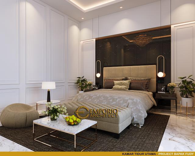 Desain Kamar Tidur Utama Rumah Mediteran 3.5 Lantai Bapak Fudy di Jakarta Barat