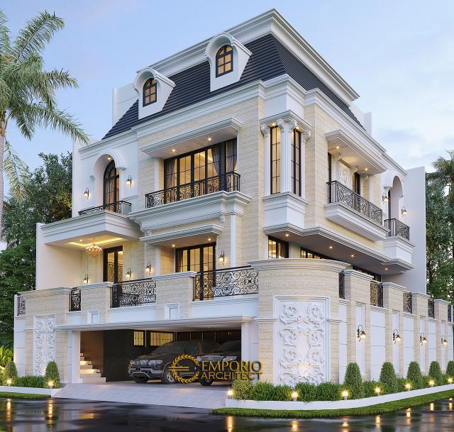 Desain Tampak Hook Rumah Mediteran 4 Lantai Ibu Eli di Jakarta Utara