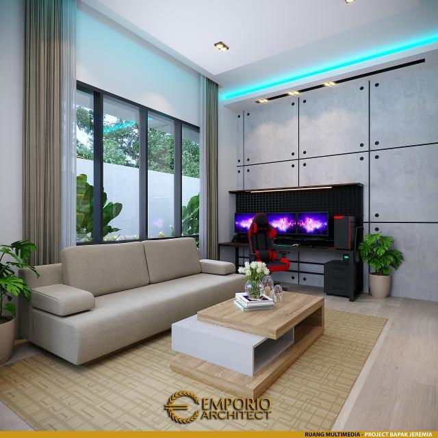 Desain Ruang Multimedia Rumah Modern 1 Lantai Bapak Jeremia di Pekanbaru, Riau