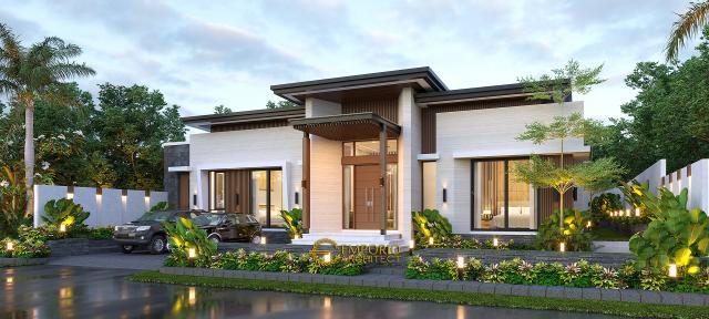 Desain Tampak Depan 2 Rumah Modern 1 Lantai Bapak Jeremia di Pekanbaru, Riau