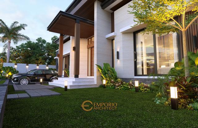 Desain Tampak Detail Depan Rumah Modern 1 Lantai Bapak Jeremia di Pekanbaru, Riau