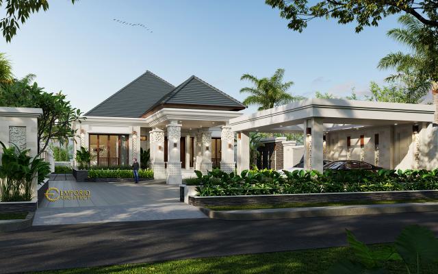 Desain Tampak Depan 1 Rumah Villa Bali Modern 1 Lantai Bapak Ivan di Pangkalan Bun, Kotawaringin Barat, Kalimantan Tengah