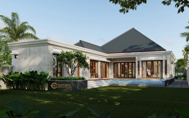 Desain Tampak Belakang 1 Rumah Villa Bali Modern 1 Lantai Bapak Ivan di Pangkalan Bun, Kotawaringin Barat, Kalimantan Tengah