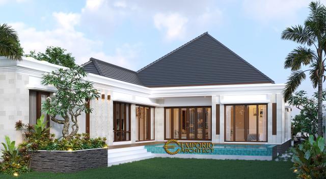 Desain Tampak Belakang 2 Rumah Villa Bali Modern 1 Lantai Bapak Ivan di Pangkalan Bun, Kotawaringin Barat, Kalimantan Tengah