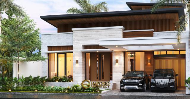 Desain Rumah Modern 1.5 Lantai Bapak Reza di Pekanbaru, Riau - Tampak Depan