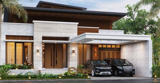 Desain Tampak Depan 2 Rumah Modern 1.5 Lantai Bapak Reza di Pekanbaru, Riau