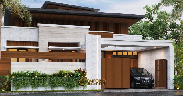 Desain Tampak Depan Dengan Pagar Rumah Modern 1.5 Lantai Bapak Reza di Pekanbaru, Riau