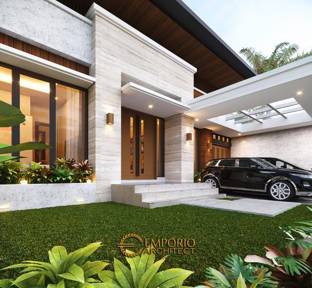 Desain Tampak Detail Depan Rumah Modern 1.5 Lantai Bapak Reza di Pekanbaru, Riau