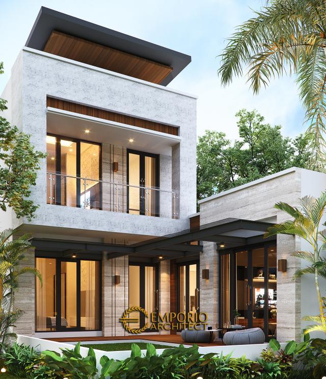 Desain Tampak Belakang Rumah Modern 1.5 Lantai Bapak Reza di Pekanbaru, Riau