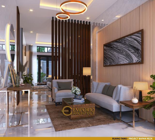 Desain Ruang Tamu Rumah Modern 1.5 Lantai Bapak Reza di Pekanbaru, Riau