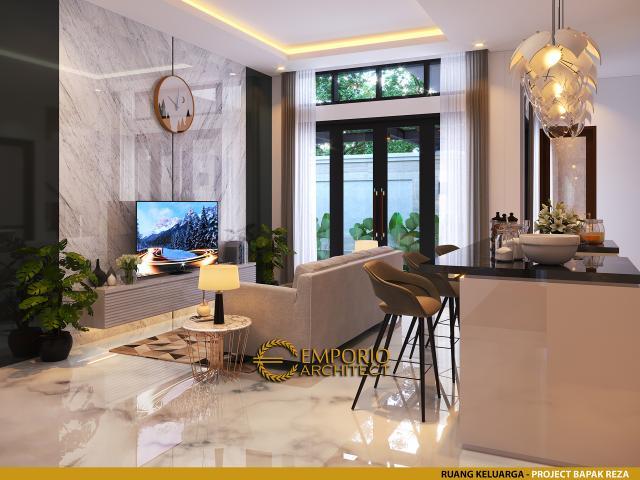 Desain Ruang Keluarga Rumah Modern 1.5 Lantai Bapak Reza di Pekanbaru, Riau