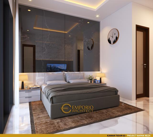 Desain Kamar Tidur 3 Rumah Modern 1.5 Lantai Bapak Reza di Pekanbaru, Riau