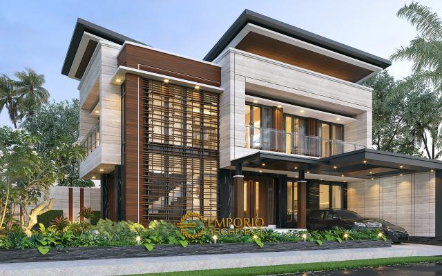 Desain Rumah Modern 2 Lantai Bapak Yandra di Padang, Sumatera Barat - Tampak Depan