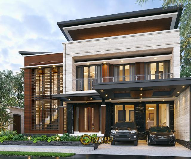 Desain Tampak Depan 2 Rumah Modern 2 Lantai Bapak Yandra di Padang, Sumatera Barat