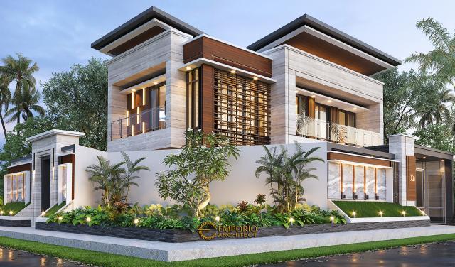Desain Tampak Hook Dengan Pagar Rumah Modern 2 Lantai Bapak Yandra di Padang, Sumatera Barat