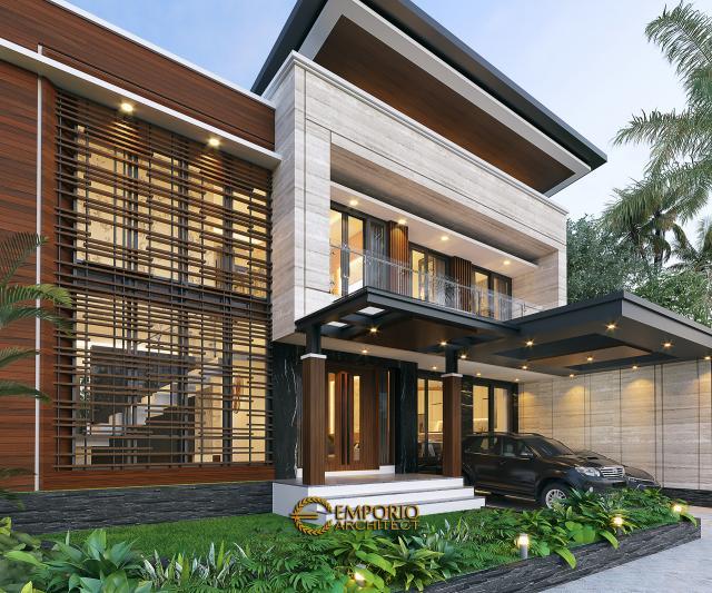 Desain Tampak Detail Depan Rumah Modern 2 Lantai Bapak Yandra di Padang, Sumatera Barat