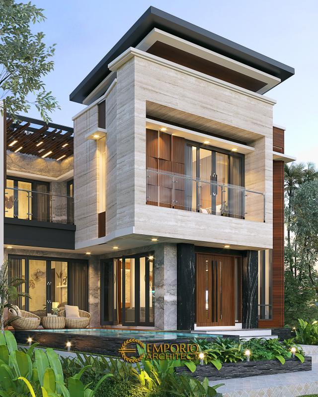 Desain Tampak Belakang Rumah Modern 2 Lantai Bapak Yandra di Padang, Sumatera Barat