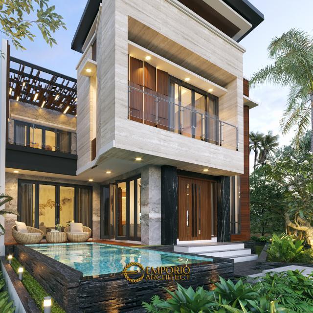 Desain Tampak Detail Belakang Rumah Modern 2 Lantai Bapak Yandra di Padang, Sumatera Barat