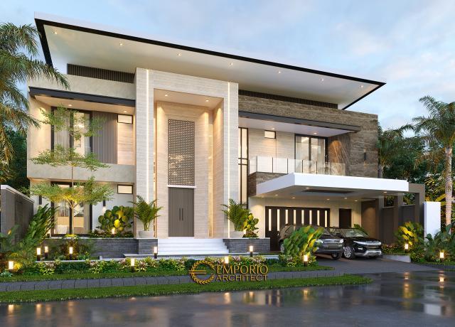 Desain Rumah Modern 2 Lantai Ibu Yeti di Lampung - Tampak Depan