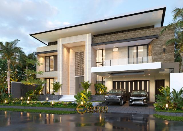Desain Tampak Depan 2 Rumah Modern 2 Lantai Ibu Yeti di Lampung
