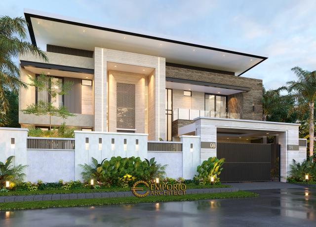 Desain Tampak Depan Tanpa Pagar Rumah Modern 2 Lantai Ibu Yeti di Lampung