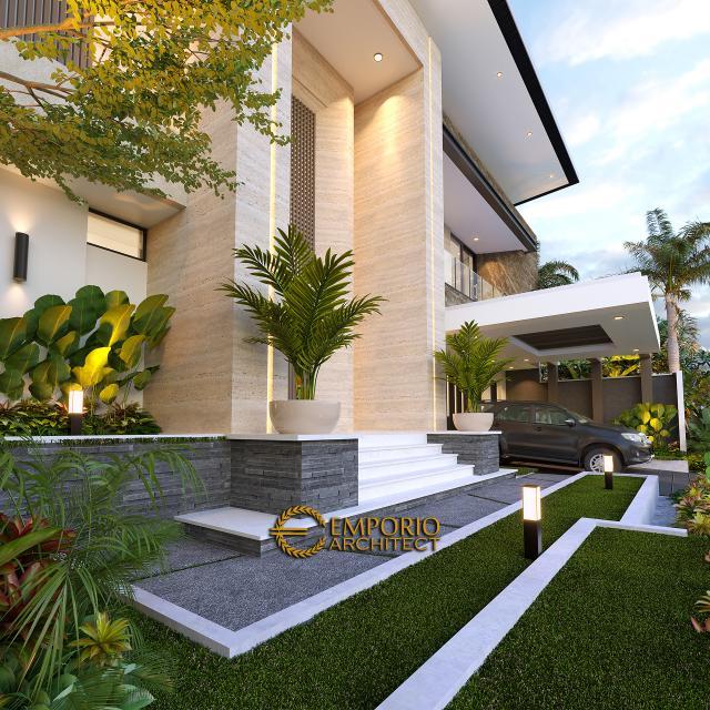 Desain Tampak Detail Depan Rumah Modern 2 Lantai Ibu Yeti di Lampung