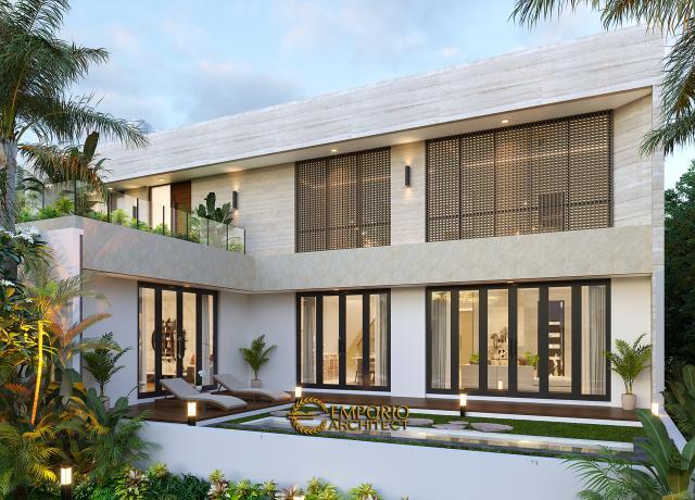 Desain Tampak Belakang Rumah Modern 2 Lantai Ibu Yeti di Lampung