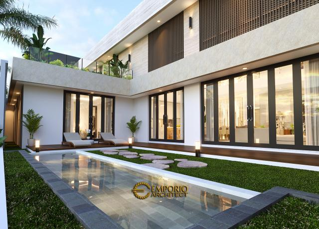 Desain Tampak Detail Belakang Rumah Modern 2 Lantai Ibu Yeti di Lampung