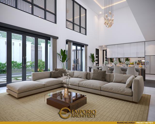 Desain Ruang Keluarga Rumah Modern 2 Lantai Ibu Yeti di Lampung