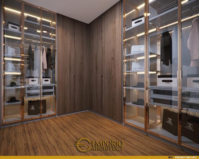Desain Walk In Closet Rumah Modern 2 Lantai Ibu Yeti di Lampung
